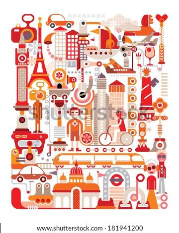 Travel - isolated vector illustration on white background. Graphic art design. - stock vector