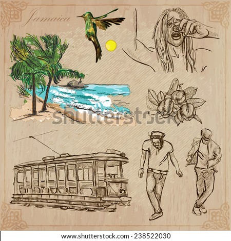 Travel: JAMAICA (set no.12) - Collection of an hand drawn vector illustrations. Each drawing comprise three layers of lines, the colored background is isolated. Easy editable in layers and groups. - stock vector