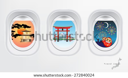 Travel Japan concept air plane windows with land japan landmark torii gate, mountain fuji ,high speed train, golden pavilion, lucky doll and firework at night - stock vector