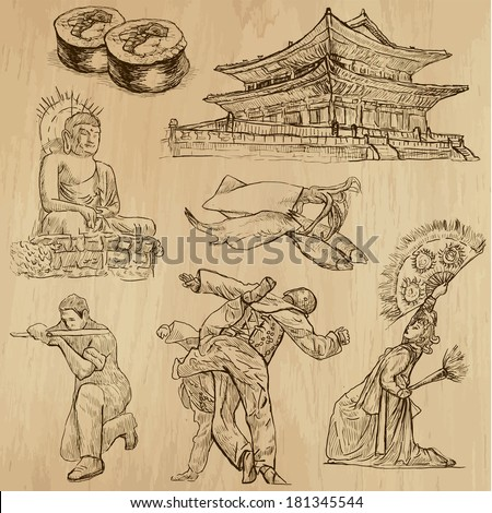 Travel : KOREA set no.1. Collection of hand drawn illustrations. Each drawing comprises two layers of outlines, the colored background is isolated. - stock vector