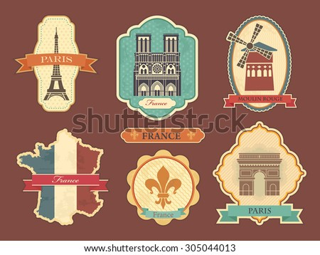 Travel labels with symbols of France and Paris