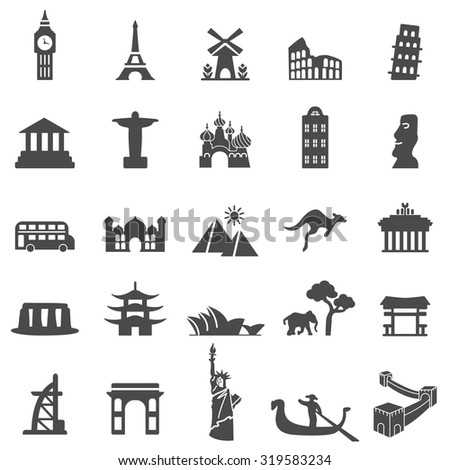 Travel landmarks black icon set - stock vector