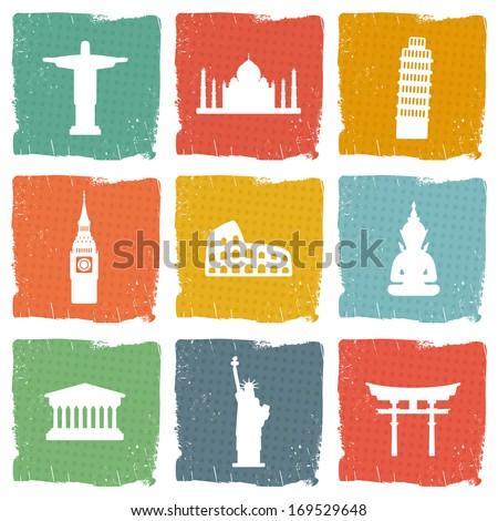 Travel landmarks icons - stock vector