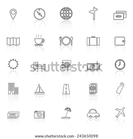 Travel line icons with reflect on white background, stock vector - stock vector