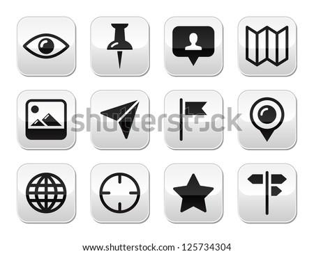 Travel location modern buttons set - stock vector