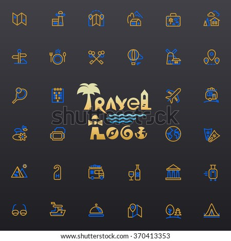 Travel logo and icons set for web and mobile app. Vector.
