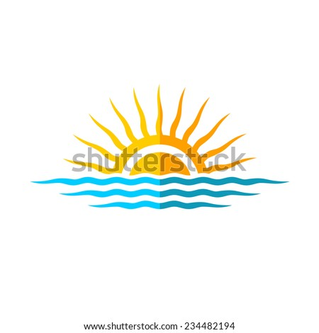 Travel logo template. Sun with sea waves. - stock vector