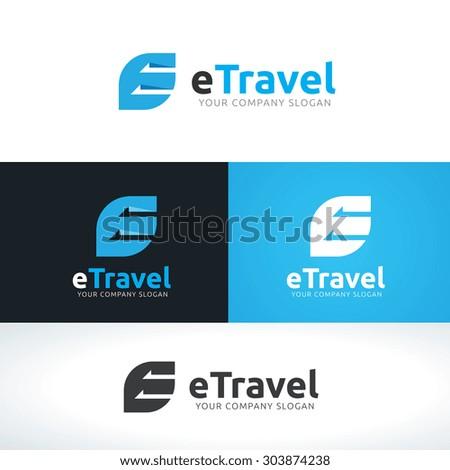 Travel logo, Travel agency,e letter logo,Vector Logo TemplateVector Logo Template - stock vector