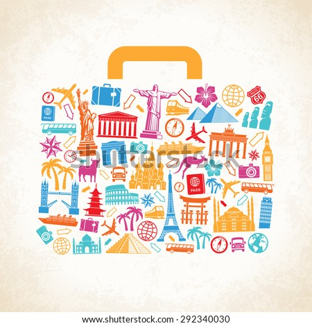 Travel luggage concept composed of travel related and famous monuments icons on a grunge background. - stock vector