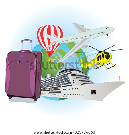 Travel, luggage, cruise liner, helicopter, airplane, air ballon, flat vector illustration, apps, banner  - stock vector