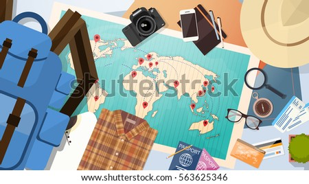 Travel luggage document world map pins stock vector 563625346 travel luggage document world map with pins vacation concept flat vector illustration gumiabroncs Images
