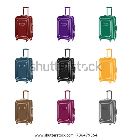 Travel luggage icon in black style isolated on white background. Rest and travel symbol stock vector illustration.