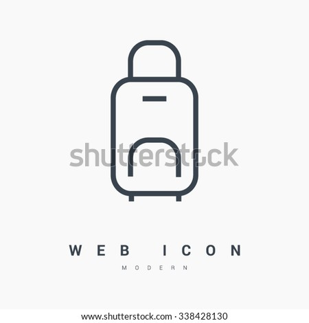 travel luggage suitcase isolated minimal single flat linear icon. Line vector icon for websites and mobile minimalistic flat design. Modern trend concept design style illustration symbol - stock vector