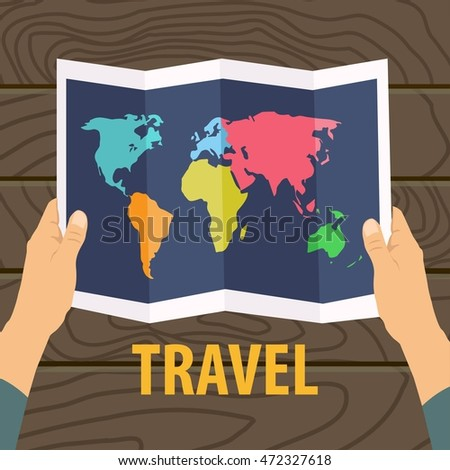 Travel map flat design with wooden background