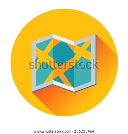 travel map icon - stock vector