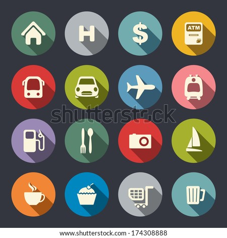 Travel map icons - stock vector