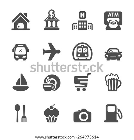 travel map location icon set, vector eps10. - stock vector