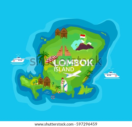 Travel map lombok island indonesia vector stock vector 597296459 travel map of lombok island at indonesia vector illustration gumiabroncs Gallery