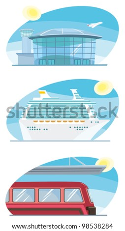 Travel means - airport, cruise boat, train - stock vector