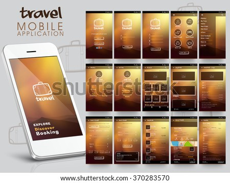 Travel Mobile Application User Interface layout with different UI, UX and GUI template including Login, Create Account, Profile, Setting and Places screens. - stock vector