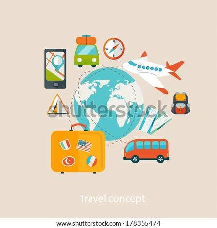 Travel mobile UI applications graphic user interface flat icons set.Vector. - stock vector