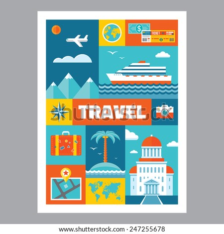 Travel - mosaic poster with icons in flat design style. Vector icons set. Set of tourism icons. Travel illustrations. Design elements. - stock vector