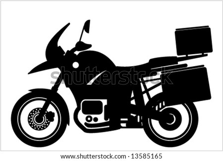 Travel MotorCycle Silhouette - stock vector