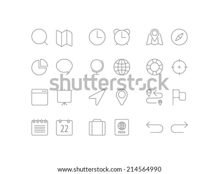 Travel, navigation and date set. Trendy thin icons for web and mobile. Line versions - stock vector