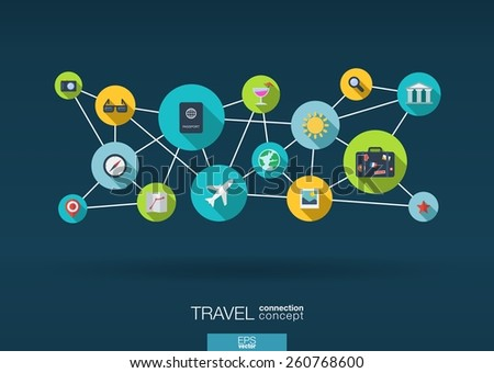 Travel network. Growth background with lines, circles and integrate flat icons. Connected symbols for tourism, holiday, trip, summer, vacation and global concepts. Vector interactive illustration - stock vector