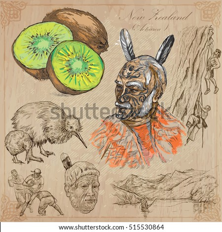 Travel NEW ZEALAND. Pictures of Life. Vector collection. Hand drawn illustrations. Pack of sketches. Set includes - Kiwi fruit, Maori people, Climbers, kiwi bird, Rugby team, Fishing in the nature.