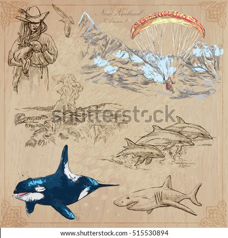 Travel NEW ZEALAND. Pictures of Life. Vector collection. Hand drawn illustrations. Pack of sketches. Set includes - Young farmer with lamb, Paragliding, pohutu geyser, Dolphins, Shark and Killer Whale