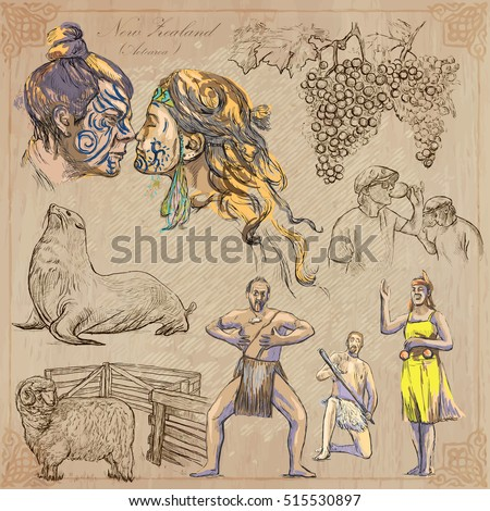 Travel NEW ZEALAND. Pictures of Life. Vector collection. Hand drawn illustrations. Pack of sketches. Set includes - Maori people kiss, grapes, Seal, Wine toast, Ram and Aboriginal dancers.