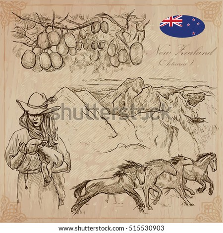 Travel NEW ZEALAND. Pictures of Life. Vector collection of an hand drawn illustrations. Pack of sketches. Set includes - Kiwi fruit on the tree, Young farmer with lamb, mountains and Wild horses.
