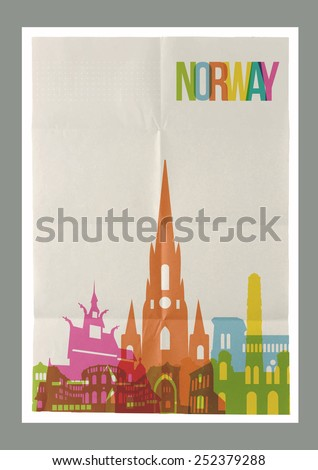 Travel Norway famous landmarks skyline on vintage paper sheet poster design background. Vector organized in layers for easy create your own postcard, brochure or marketing campaign. - stock vector