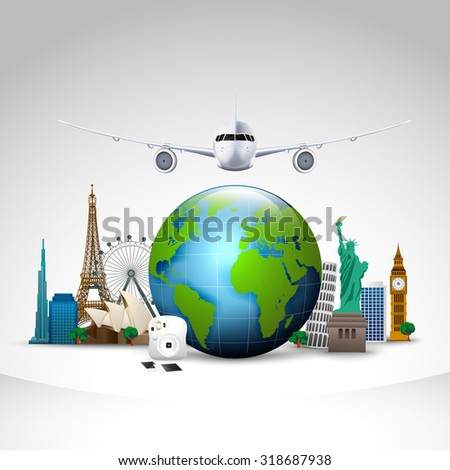 Travel of the world  background. vector - stock vector