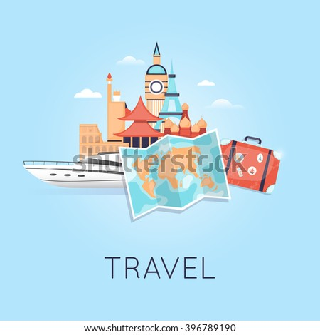 Travel on a yacht Russia, USA, Japan, France, England, Italy. World Travel. Planning summer vacations. Summer holiday. Tourism and vacation theme. Flat design vector  - stock vector