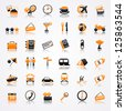 Travel orange icons with reflection - stock photo