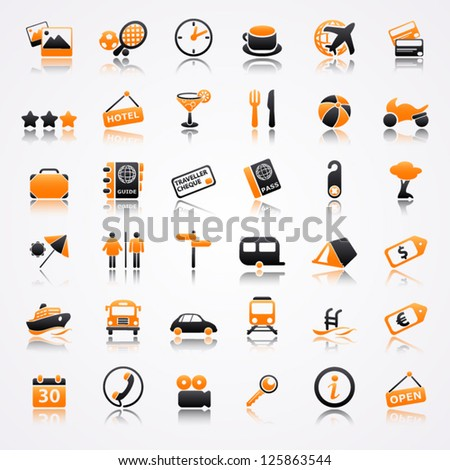 Travel orange icons with reflection - stock vector