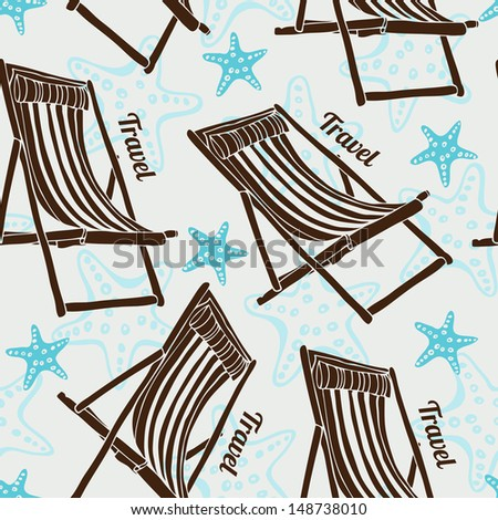 Travel pattern with beach chairs and sea stars - stock vector