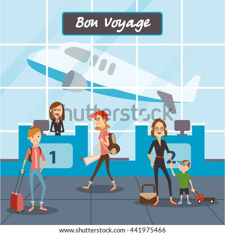 Travel People Cartoon Fly On Vacation Stock Vector ...