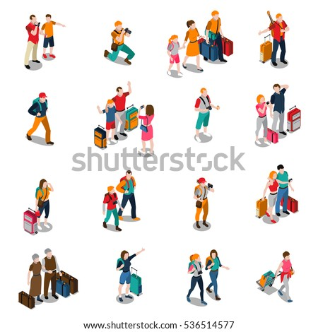 Travel people isometric icons with men women kids in different poses and baggage isolated vector illustration