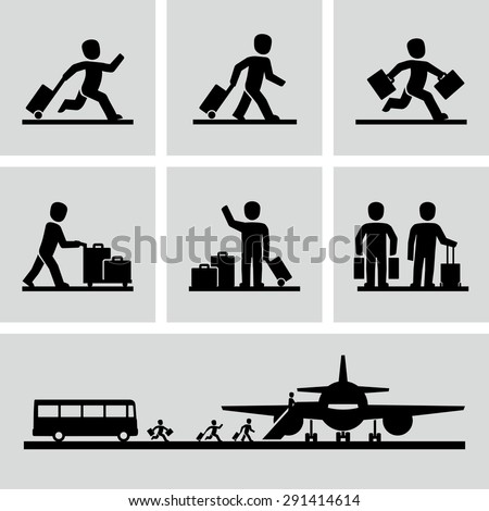 Travel people with luggage bags vector icons  - stock vector