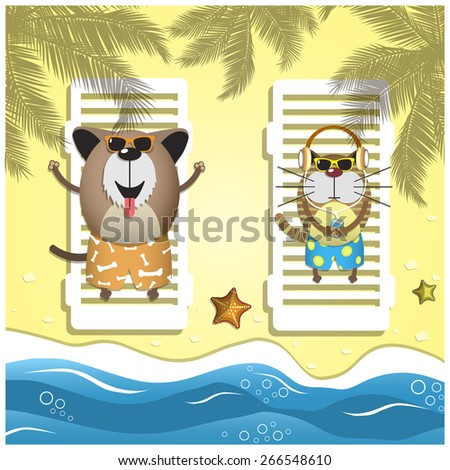 Travel pets. Vector illustration with relax dog and cat on the sand beach - stock vector