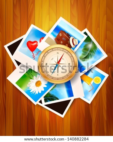 Travel photos and compass on wood background. Vector illustration. - stock vector