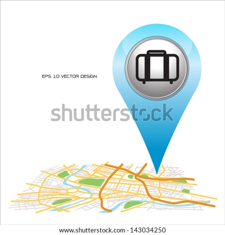 travel,  pin pointer on map location. - stock vector