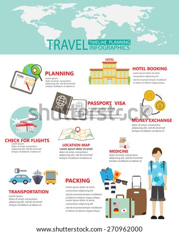 travel planing infographic.  can be used for workflow layout, diagram, step up options, web design, banner template. Vector illustration - stock vector