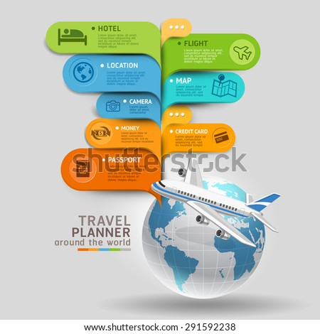 Travel Planner Around The World. Vector illustration. - stock vector