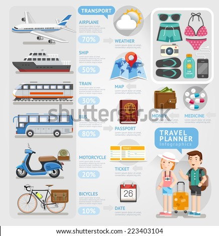 Travel planner infographics element. Vector illustration. Can be used for workflow layout, banner, number options, step up options, web design, diagram. - stock vector