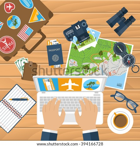 Travel planning. Trip plan vector. Man with laptop planning vacation, search place for holiday, booking tickets. Desk with elements of travel. Banner travel. Flat design style. Vacation time, concept - stock vector