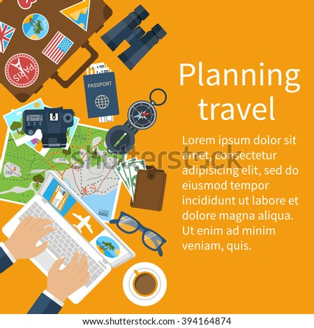 Travel planning. Vector illustration in flat design style. Vacation, trip, holiday concept. Banner travel. - stock vector